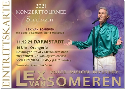 11.12.2021 Darmstadt - Concert ticket Lex van Someren with Band and singer Maria Maltseva