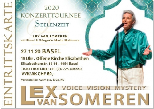 27.11.2020 Basel/CH - Concert ticket Lex van Someren with Band and singer Maria Maltseva