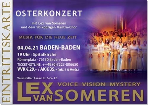 01.06.2020 Baden-Baden Concert - Concert ticket for Lex van Someren & 50-köpfiger Mantrachor