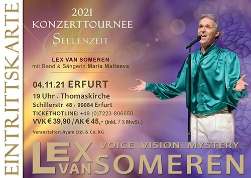 04.11.2021 Erfurt - Concert ticket Lex van Someren with Band and singer Maria Maltseva