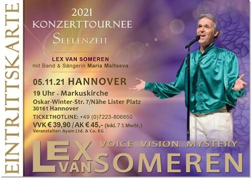 05.11.2021 Hannover - Concert ticket Lex van Someren with Band and singer Maria Maltseva