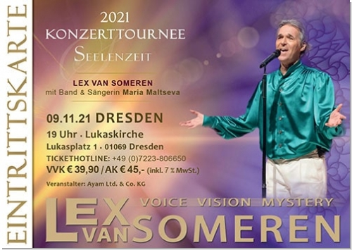 09.11.2021 Dresden - Concert ticket Lex van Someren with band and singer Maria Maltseva