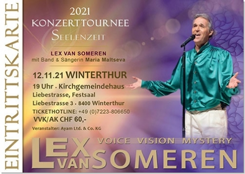 12.11.2021 Winterthur/CH - Concert ticket Lex van Someren with Band and singer Maria Maltseva