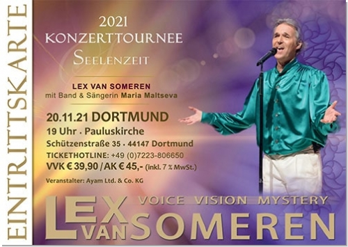 20.11.2021 Dortmund - Concert ticket Lex van Someren with band and singer Maria Maltseva