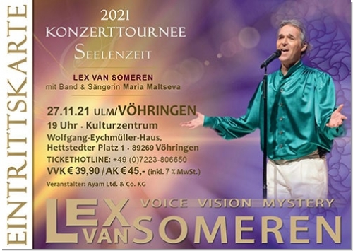 27.11.2021 Ulm/Vöhringen - Concert ticket Lex van Someren with Band and singer Maria Maltseva