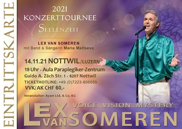 14.11.2021 Nottwil/Luzern/CH - Concert ticket Lex van Someren with Band and singer Maria Maltseva