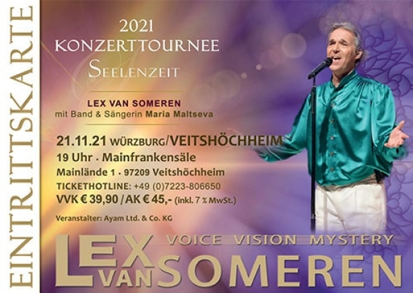 21.11.2021 Würzburg/Veitshöchheim - Concert ticket Lex van Someren with band and singer Maria Maltseva